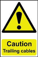 """Caution Trailing Cables"" Sign, Self-Adhesive Semi-Rigid PVC (200mm x 300mm)"