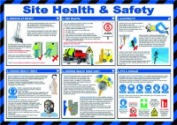 'Site Health & Safety' Sign, Laminated Paper, Safety Poster (590mm x 420mm)