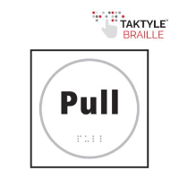 'Pull' Sign, Self-Adhesive Taktyle, White, (150mm x 150mm)
