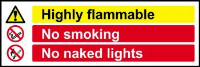 'Highly Flammable No Smoking No Naked Lights' Sign, Non Adhesive Rigid 1mm PVC Board (600mm x 200mm)