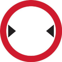 'Width Restriction' Road Sign, Aluminium Composite without channel (450mm dia.)