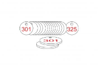 White/Red Traffolite Tags (301 to 325), 27mm