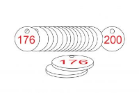 White/Red Traffolite Tags (176 to 200), 33mm