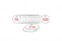 White/Red Traffolite Tags (76 to 100), 27mm