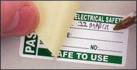 100 PAT Test Write & Seal Labels – Passed 50x25mm