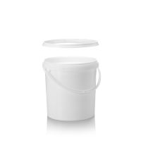 10L Tall White Pail with Plastic Handle