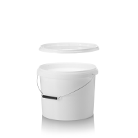 10L White Pail with Metal Handle