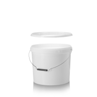 15L White Pail with Metal Handle