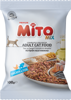 UK Distributors Of Sample 100GR Mito Mix Adult Cat Colored Grained Adult Cat Food With Chicken and Fish