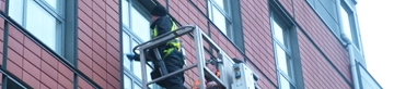 Commercial Window Cleaning Using A Cradle For Tower Blocks