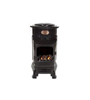 Provence Flame Effect Mobile Heaters - Gloss Black Eastbourne