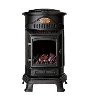 Provence Flame Effect Mobile Heaters - Matt Black Winchester