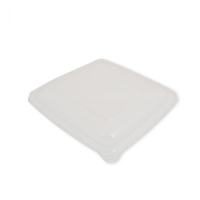Square RPET Lid to Fit Bagasse Sugarcane Square Food Tray 1400ml Per 300