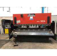 AMADA APX 103 100 ton x 3000mm Upstroking Hydraulic 7 Axis CNC Press Brake. Operateur controller. Manufactured 1995.
