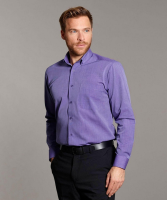 Disley Mens End on End Shirt with Button Down Collar