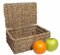 Seagrass HAMPER Basket with Lid - 23x16x9cm SMALL