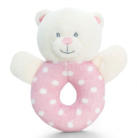 Baby's First RING RATTLE by Keel Toys - PINK/WHITE SPOTS