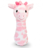 Snuggle Giraffe STICK RATTLE by Keel Toys - PINK