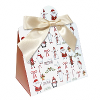 Triangle Gift Box with Mini Bows - SMALL CHRISTMAS CHARACTER/CREAM BOWS (PK10)