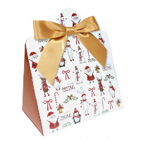 Triangle Gift Box with Mini Bows - SMALL CHRISTMAS CHARACTER/GOLD BOWS (PK10)