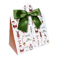 Triangle Gift Box with Mini Bows - SMALL CHRISTMAS CHARACTER/GREEN BOWS (PK10)
