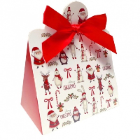 Triangle Gift Box with Mini Bows - SMALL CHRISTMAS CHARACTER/RED BOWS (PK10)