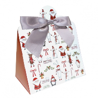 Triangle Gift Box with Mini Bows - SMALL CHRISTMAS CHARACTER/SILVER BOWS (PK10)