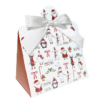 Triangle Gift Box with Mini Bows - SMALL CHRISTMAS CHARACTER/WHITE BOWS (PK10)