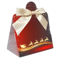 Triangle Gift Box with Mini Bows - SMALL REINDEER/CREAM BOWS (PK10]