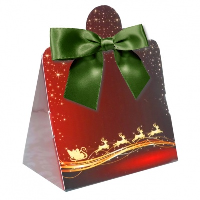 Triangle Gift Box with Mini Bows - SMALL REINDEER/GREEN BOWS (PK10)