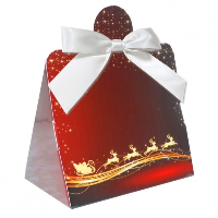 Triangle Gift Box with Mini Bows - SMALL REINDEER/WHITE BOWS (PK10)
