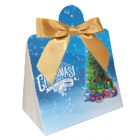 Triangle Gift Box with Mini Bows - SMALL CHRISTMAS TREE/GOLD BOWS (PK10)
