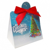 Triangle Gift Box with Mini Bows - SMALL CHRISTMAS TREE/RED BOWS (PK10)