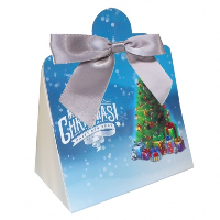 Triangle Gift Box with Mini Bows - SMALL CHRISTMAS TREE/SILVER BOWS (PK10)