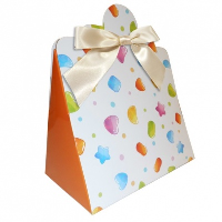 Triangle Gift Boxes with Mini Bows - LARGE CANDY/CREAM BOWS (pk10)