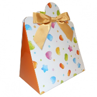 Triangle Gift Boxes with Mini Bows - LARGE CANDY/GOLD BOWS (pk10)