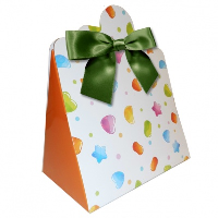 Triangle Gift Boxes with Mini Bows - LARGE CANDY/GREEN BOWS (pk10)