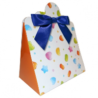 Triangle Gift Boxes with Mini Bows - LARGE CANDY/NAVY BOWS (pk10)