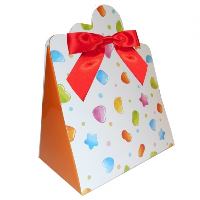 Triangle Gift Boxes with Mini Bows - LARGE CANDY/RED BOWS (pk10)