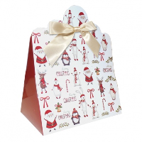 Triangle Gift Boxes with Mini Bows - LARGE CHRISTMAS CHARACTER/CREAM BOWS (pk10)