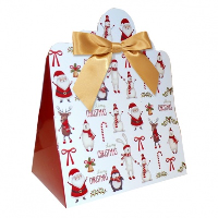 Triangle Gift Boxes with Mini Bows - LARGE CHRISTMAS CHARACTER/GOLD BOWS (pk10)