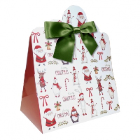 Triangle Gift Boxes with Mini Bows - LARGE CHRISTMAS CHARACTER/GREEN BOWS (pk10)