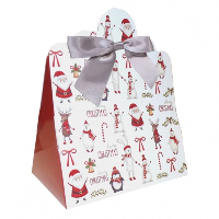 Triangle Gift Boxes with Mini Bows - LARGE CHRISTMAS CHARACTER/SILVER BOWS (pk10)
