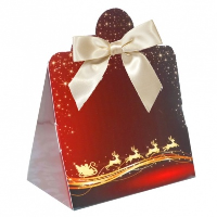 Triangle Gift Boxes with Mini Bows - LARGE REINDEER/CREAM BOWS (pk10)