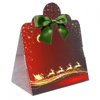 Triangle Gift Boxes with Mini Bows - LARGE REINDEER/GREEN BOWS (pk10)