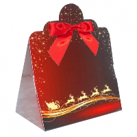Triangle Gift Boxes with Mini Bows - LARGE REINDEER/RED BOWS (pk10)