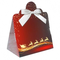 Triangle Gift Boxes with Mini Bows - LARGE REINDEER/WHITE BOWS (pk10)