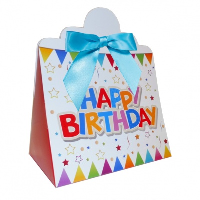 Triangle Gift Boxes with Mini Bows - LARGE BIRTHDAY/BLUE BOWS (pk10)