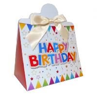 Triangle Gift Boxes with Mini Bows - LARGE BIRTHDAY/CREAM BOWS (pk10)