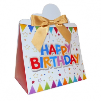 Triangle Gift Boxes with Mini Bows - LARGE BIRTHDAY/GOLD BOWS (pk10)